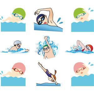 フリーイラスト, ベクター画像, AI, スポーツ, ウォータースポーツ, 競泳, 泳ぐ(水泳), 運動, クロール, 平泳ぎ, 背泳ぎ, 人物, 男性, 女性, 飛び込む(ダイブ), 水中眼鏡, 水泳帽(スイミングキャップ)