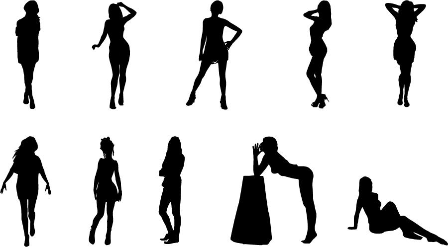 フリーイラスト 10人のセクシーな女性のシルエットのセット