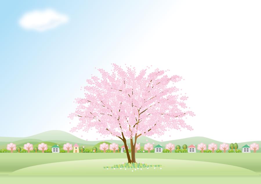 フリーイラスト 満開の桜の木とのどかな田舎の風景