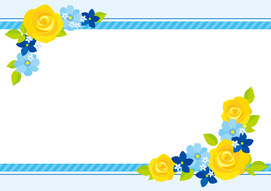 フリーイラスト 黄色のバラのなどの父の日の飾り枠