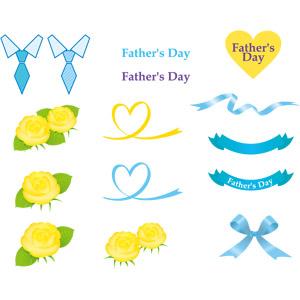 フリーイラスト, ベクター画像, AI, 年中行事, 父の日, 6月, 花, 薔薇(バラ), 黄色の花, ハート, リボン, 帯リボン, 蝶リボン