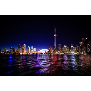 フリー写真, 風景, 建造物, 建築物, 高層ビル, 都市, 街並み(町並み), 夜景, 夜, CNタワー, カナダの風景, トロント