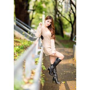 フリー写真, 人物, 女性, アジア人女性, 鄔育錡(00178), 中国人, ワンピース, ブーツ