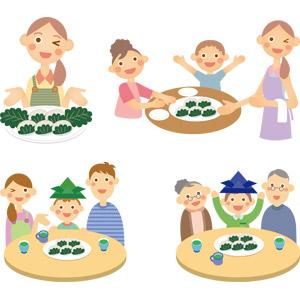 フリーイラスト, ベクター画像, AI, 食べ物(食料), 菓子, 和菓子, 餅菓子, 柏餅, 年中行事, 端午(菖蒲の節句), こどもの日, 5月, 人物, 家族, 父親(お父さん), 母親(お母さん), 息子, 娘, 祖父(おじいさん), 祖母(おばあさん)