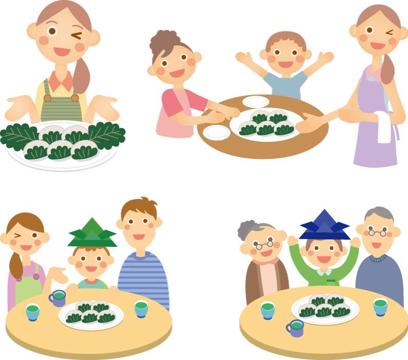 フリーイラスト 4種類の柏餅を食べる家族のセット