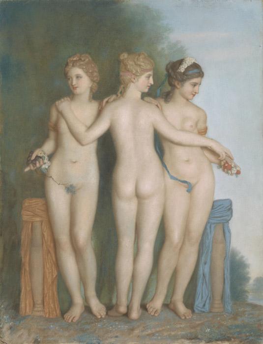 フリー絵画 ジーン・エティエン・リオタール作「三美神」