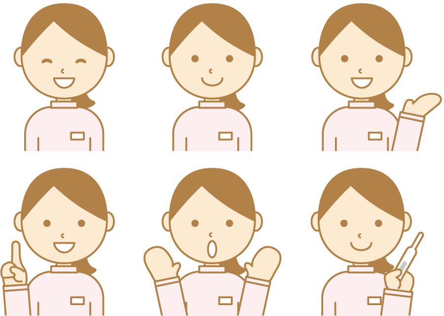 フリーイラスト 6種類の女性介護スタッフのセット