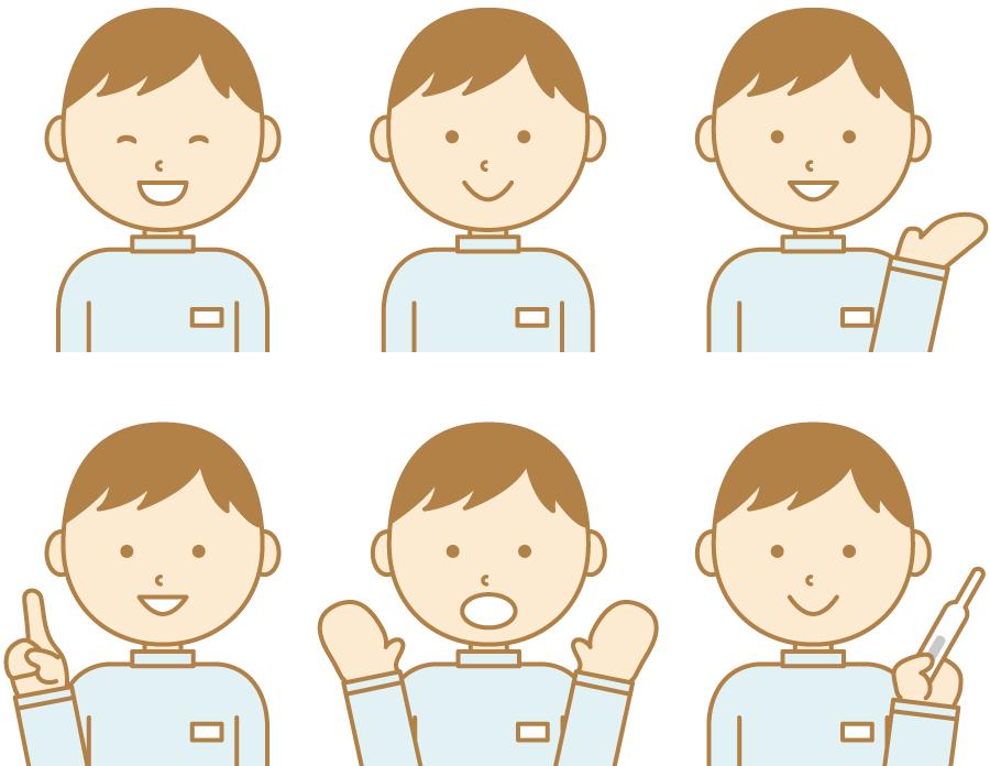フリーイラスト 6種類の男性介護スタッフのセット