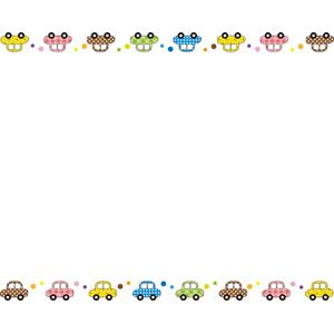 フリーイラスト, ベクター画像, EPS, 背景, フレーム, 上下フレーム, 乗り物, 自動車, カラフル