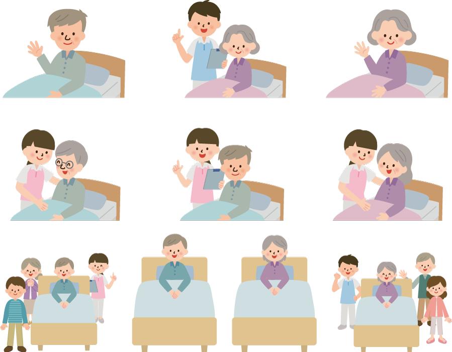 フリーイラスト 10種類のベッドと老人と介護スタッフのセット