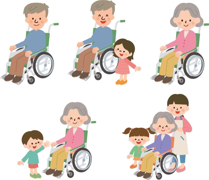フリーイラスト 5種類の車椅子に乗る老人のセット