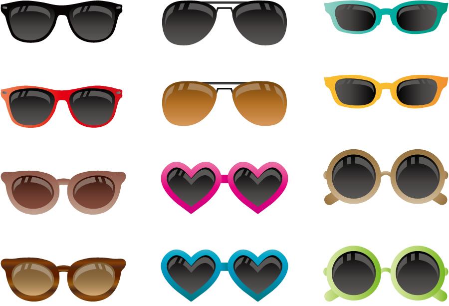 フリーイラスト 12種類のサングラスのセット