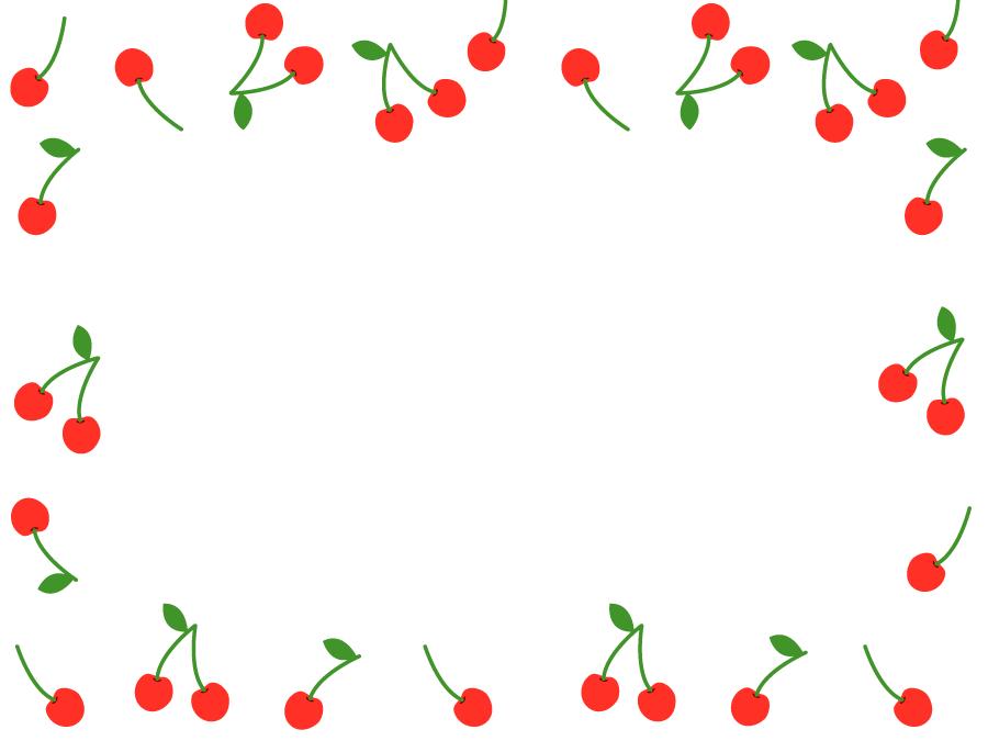 フリーイラスト さくらんぼの飾り枠