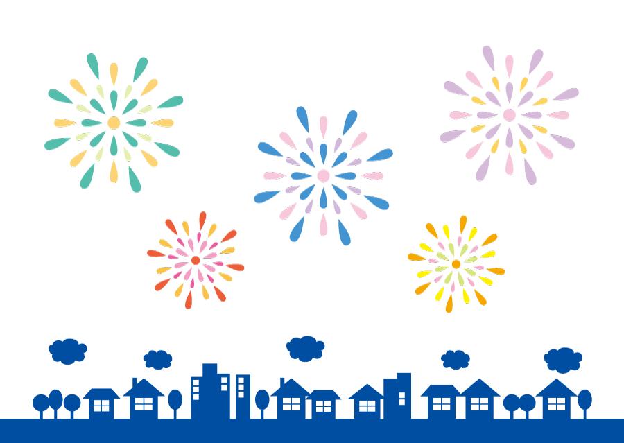 フリーイラスト 街の上空に上がる打ち上げ花火