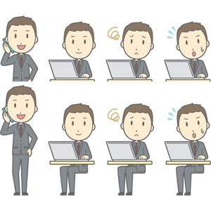 フリーイラスト, ベクター画像, AI, 人物, 男性, 男性(00179), ビジネス, 仕事, 職業, ビジネスマン, サラリーマン, メンズスーツ, 携帯電話, 通話, デスクワーク, PC(パソコン), ノートパソコン, 困る, 焦る