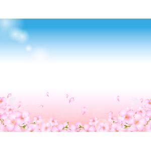 フリーイラスト, ベクター画像, AI, 背景, 植物, 花, 桜(サクラ), 蕾(つぼみ), 花びら, しゃぼん玉(シャボン玉), ピンク色の花, 春