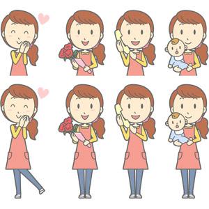 フリーイラスト, ベクター画像, AI, 人物, 女性, 女性(00188), 主婦, 母親(お母さん), ハート, カーネーション, 花束, 人と花, 母の日, 5月, 固定電話, 通話, 赤ちゃん, 親子, エプロン