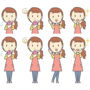 フリーイラスト, ベクター画像, AI, 人物, 女性, 女性(00188), 主婦, 母親(お母さん), エプロン, 携帯電話, スマートフォン(スマホ), 困る, 通話, 目を輝かせる, 頬に手を当てる
