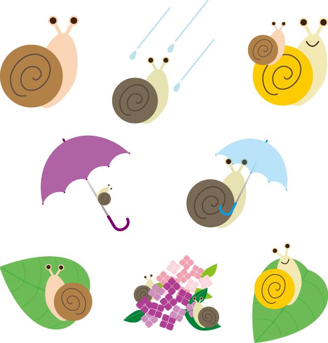 フリーイラスト 8種類のかたつむりのセット