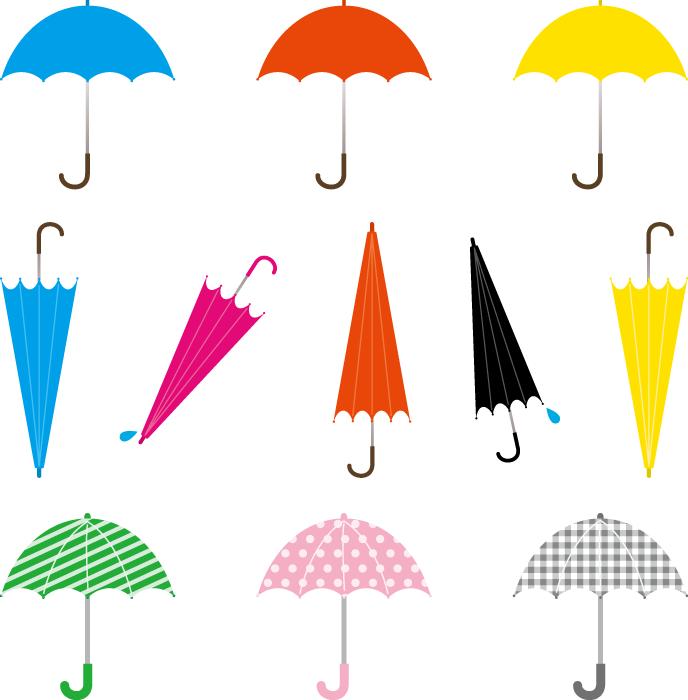 フリーイラスト 10種類の雨傘のセット
