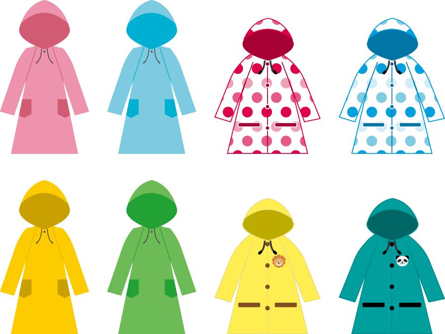 フリーイラスト 8種類の雨カッパのセット