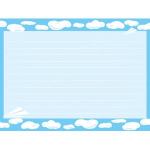 フリーイラスト, ベクター画像, AI, 背景, フレーム, 囲みフレーム, 空, 雲, 青空, 紙飛行機, 便箋