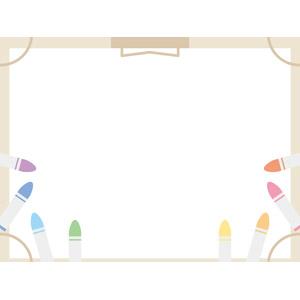 フリーイラスト, ベクター画像, EPS, 背景, フレーム, 囲みフレーム, 画材, 画板, 画用紙, クレヨン