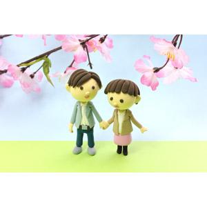 フリー写真, 人形, カップル, 恋人, 桜(サクラ), 春, デート, 手をつなぐ, 花見