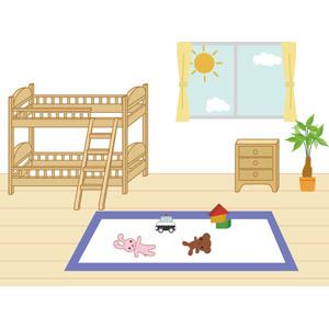 フリーイラスト, ベクター画像, EPS, 風景, 部屋, 子供部屋, ベッド, 家具, 二段ベッド, 観葉植物, 窓, 玩具(おもちゃ), ぬいぐるみ, 積木(積み木), フローリング
