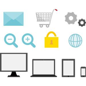 フリーイラスト, ベクター画像, AI, アイコン, パソコン(PC), タブレットPC, ノートパソコン, スマートフォン(スマホ), ディスプレイ(モニタ), メール, ショッピングカート, ネットショッピング, 設定, 歯車, 拡大, 縮小, セキュリティ, 南京錠, 地球, インターネット