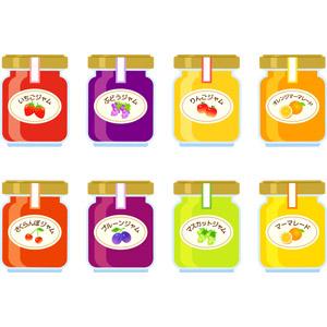 フリーイラスト, ベクター画像, EPS, 食べ物(食料), 果物(フルーツ), スプレッド, ジャム, マーマレード, 瓶(ボトル)