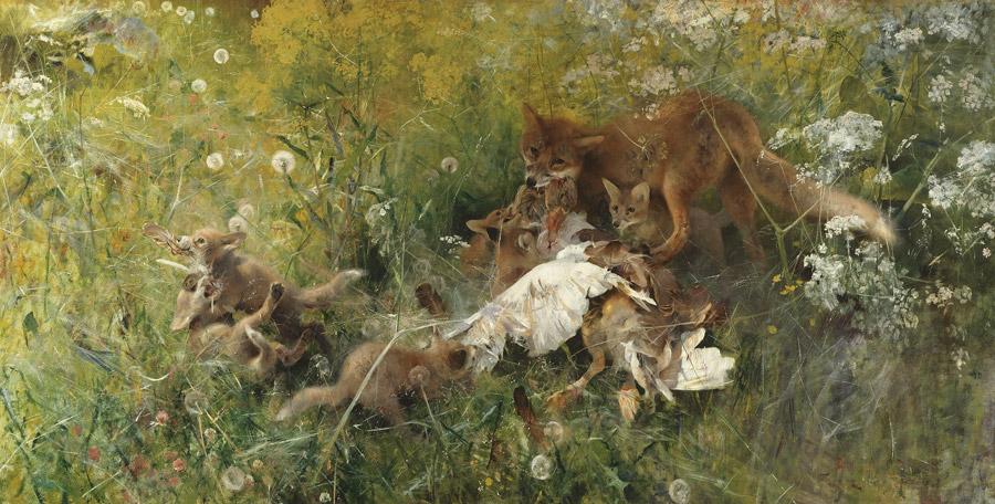フリー絵画 ブルーノ・リリエフォッシュ作「キツネの家族」