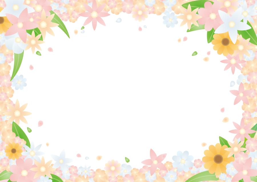 フリーイラスト 花と花びらと葉の飾り枠