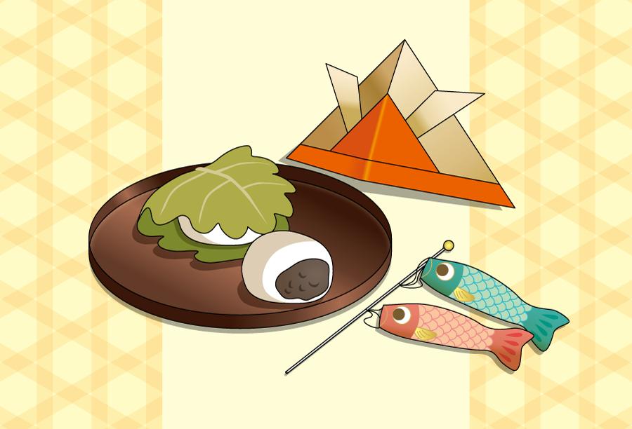 フリーイラスト 鯉のぼりと柏餅と兜の端午の節句の背景