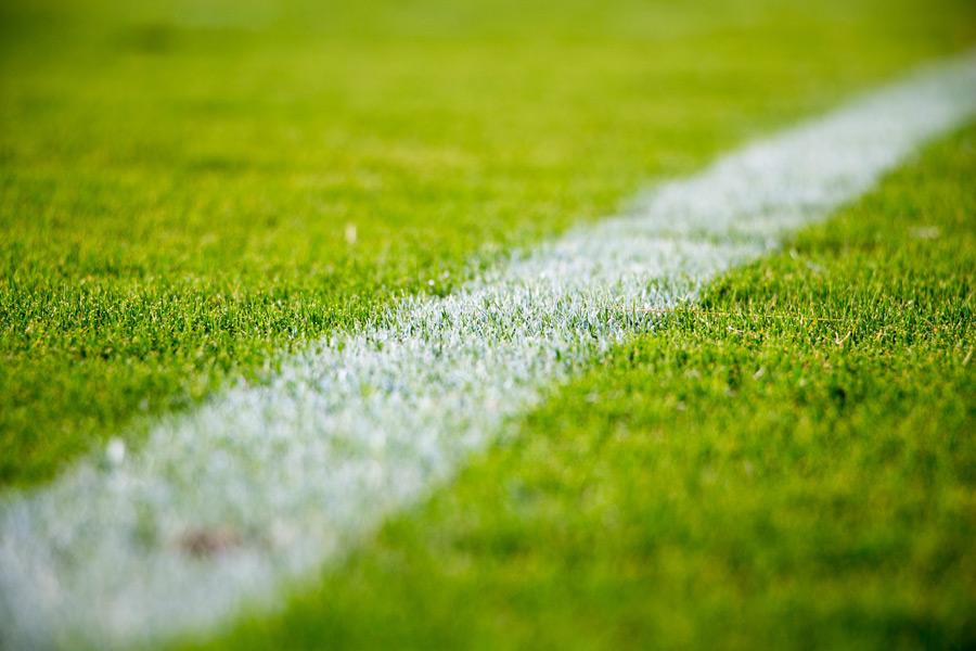 フリー写真 芝生の上のサッカー場の白線