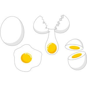 フリーイラスト, ベクター画像, EPS, 食べ物(食料), 卵(タマゴ), 料理, 卵料理, ゆで卵, 目玉焼き