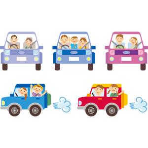 フリーイラスト, ベクター画像, AI, カップル, 恋人, 夫婦, 家族, 親子, 父親(お父さん), 母親(お母さん), 子供, 息子, 娘, 人と乗り物, 乗り物, 自動車, ドライブ, デート, 旅行(トラベル)