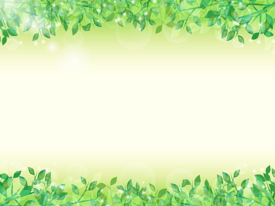 フリーイラスト 新緑の葉の上下フレーム