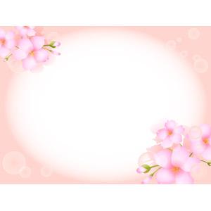 フリーイラスト, ベクター画像, AI, 背景, フレーム, 円形フレーム, 植物, 花, 桜(サクラ), ピンク色の花, ピンク色, 春