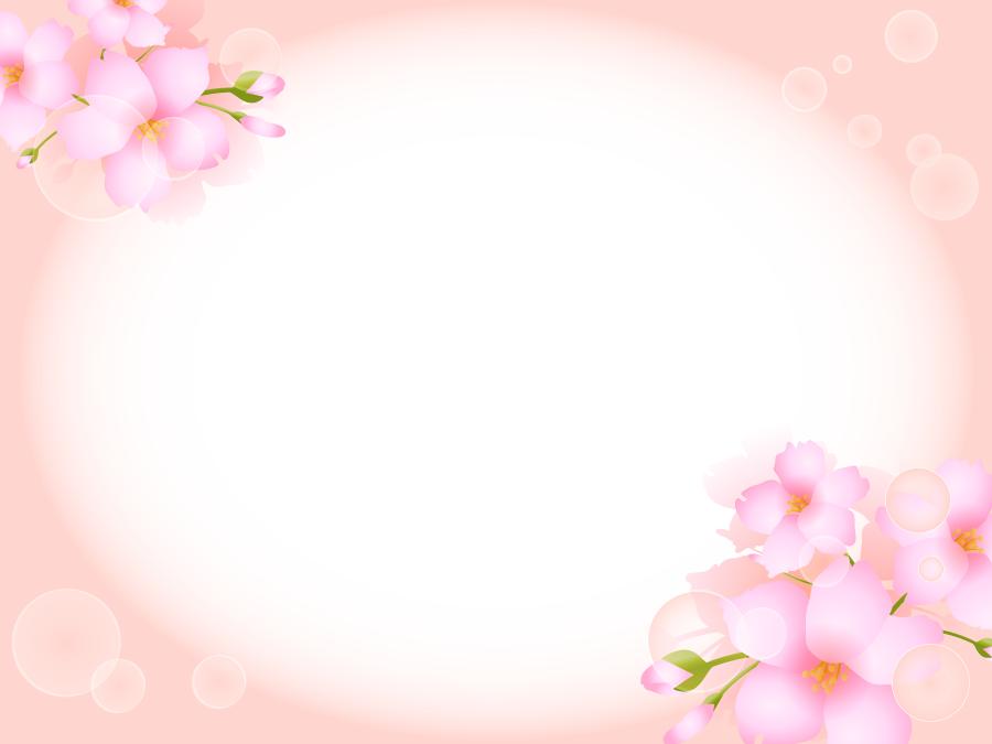 フリーイラスト 桜の花と蕾の楕円形のフレーム