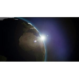 フリーイラスト, 天体, 宇宙, 惑星, 地球, 太陽光(日光)