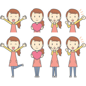 フリーイラスト, ベクター画像, AI, 人物, 女性, 女性(00188), 主婦, 母親(お母さん), エプロン, ハート, 万歳(バンザイ), 喜ぶ(嬉しい), 頬に手を当てる, 照れる, ガッツポーズ, 応援する