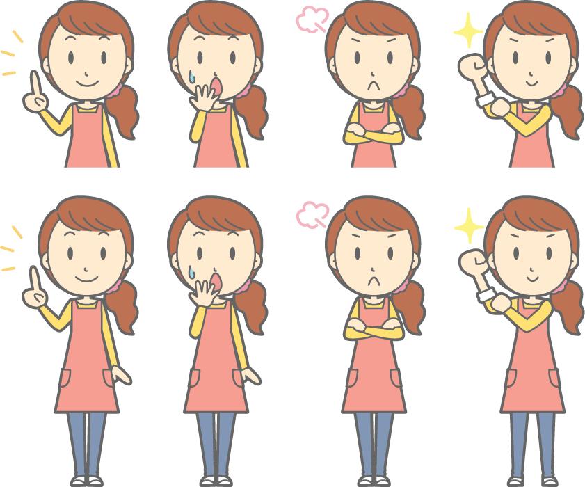 フリーイラスト アドバイスするなどの8種類のママのセット