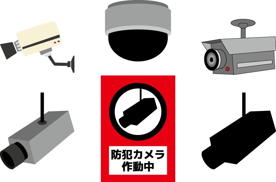 フリーイラスト 6種類の防犯カメラと告知ラベル
