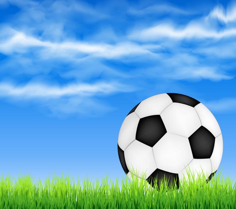 フリーイラスト 青空と芝生の上のサッカーボール