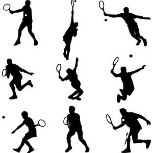 フリーイラスト, ベクター画像, AI, シルエット(人物), スポーツ, 球技, テニス, テニス選手