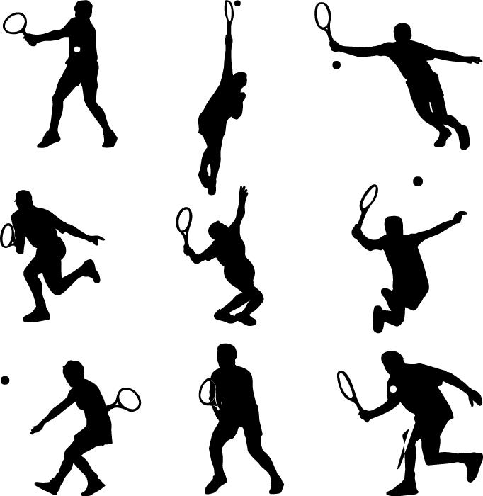 フリーイラスト 9種類のテニスプレイヤーのシルエットのセット