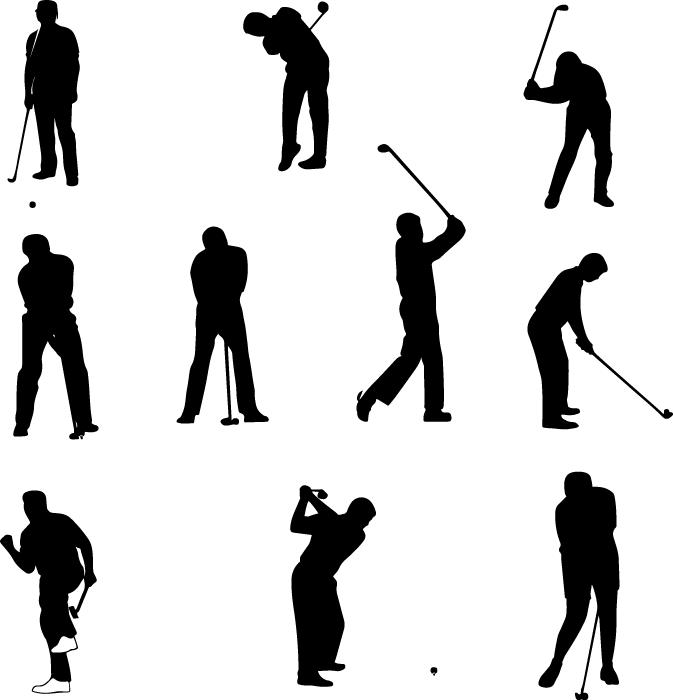 フリーイラスト 10種類のゴルファーのシルエットのセット