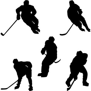 フリーイラスト, ベクター画像, AI, シルエット(人物), スポーツ, ウィンタースポーツ, アイスホッケー