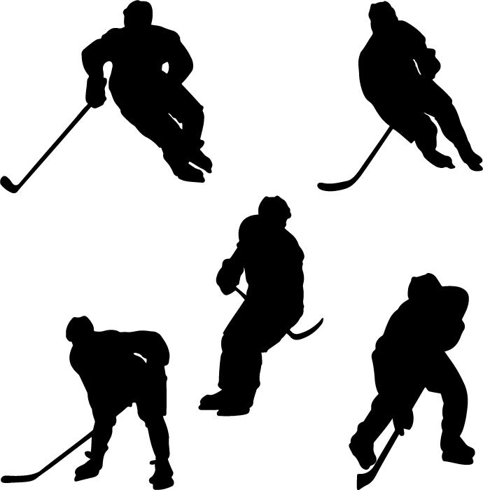 フリーイラスト 5種類のアイスホッケー選手のシルエットのセット